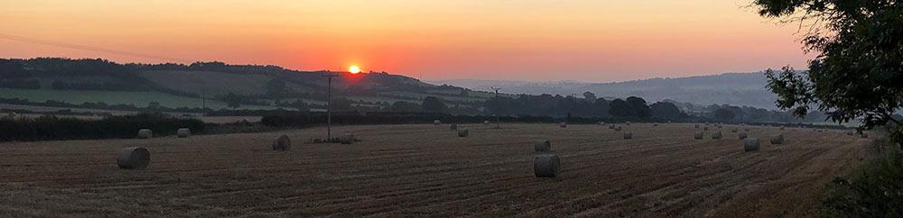 Sunrise over Emley village